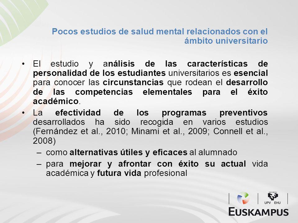 Pocos estudios de salud mental relacionados con el ámbito universitario El estudio y análisis de las características de personalidad de los estudiante