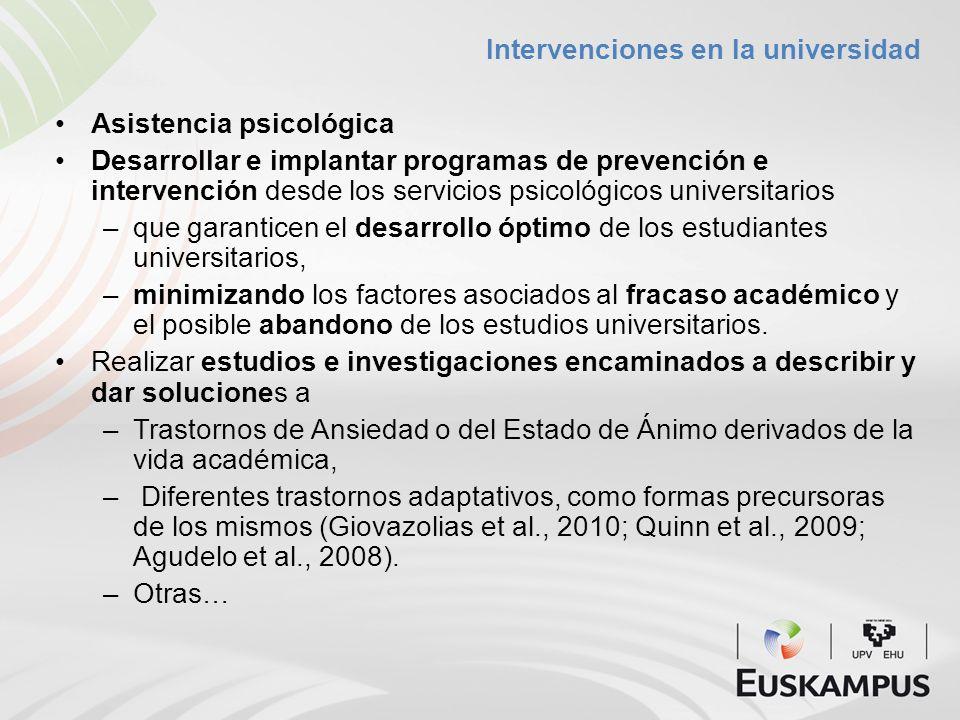 Intervenciones en la universidad Asistencia psicológica Desarrollar e implantar programas de prevención e intervención desde los servicios psicológico