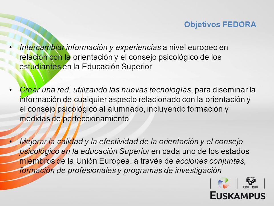 Objetivos FEDORA Intercambiar información y experiencias a nivel europeo en relación con la orientación y el consejo psicológico de los estudiantes en