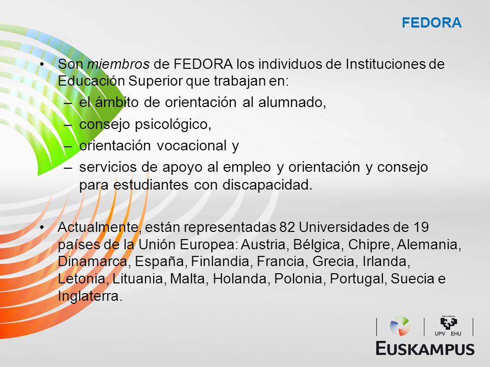 FEDORA Son miembros de FEDORA los individuos de Instituciones de Educación Superior que trabajan en: –el ámbito de orientación al alumnado, –consejo p