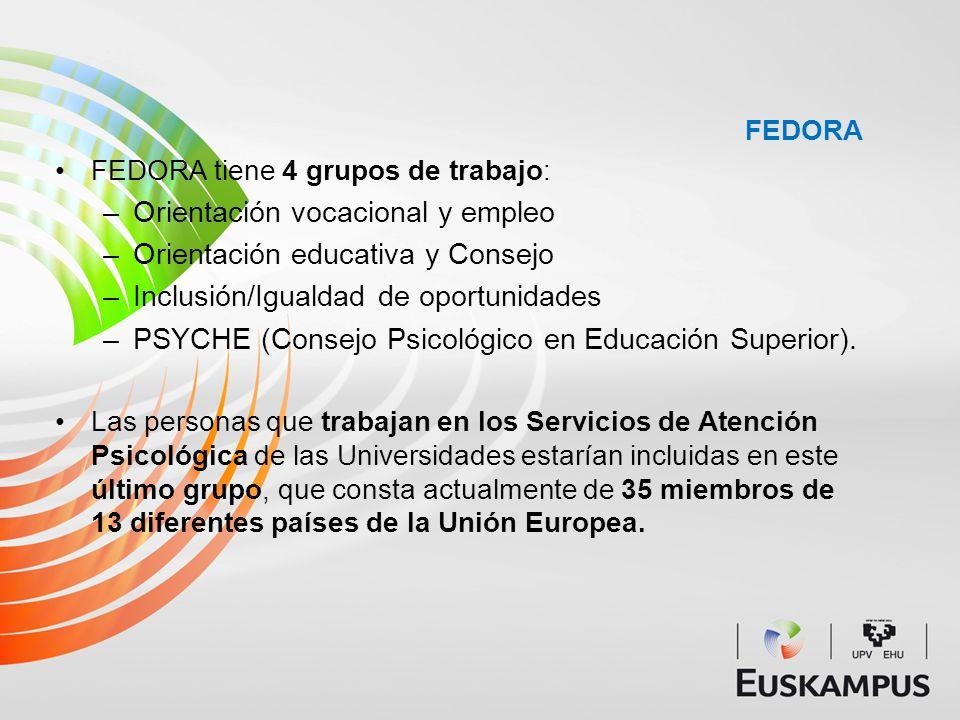 FEDORA FEDORA tiene 4 grupos de trabajo: –Orientación vocacional y empleo –Orientación educativa y Consejo –Inclusión/Igualdad de oportunidades –PSYCH