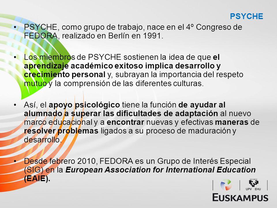 PSYCHE PSYCHE, como grupo de trabajo, nace en el 4º Congreso de FEDORA, realizado en Berlín en 1991. Los miembros de PSYCHE sostienen la idea de que e