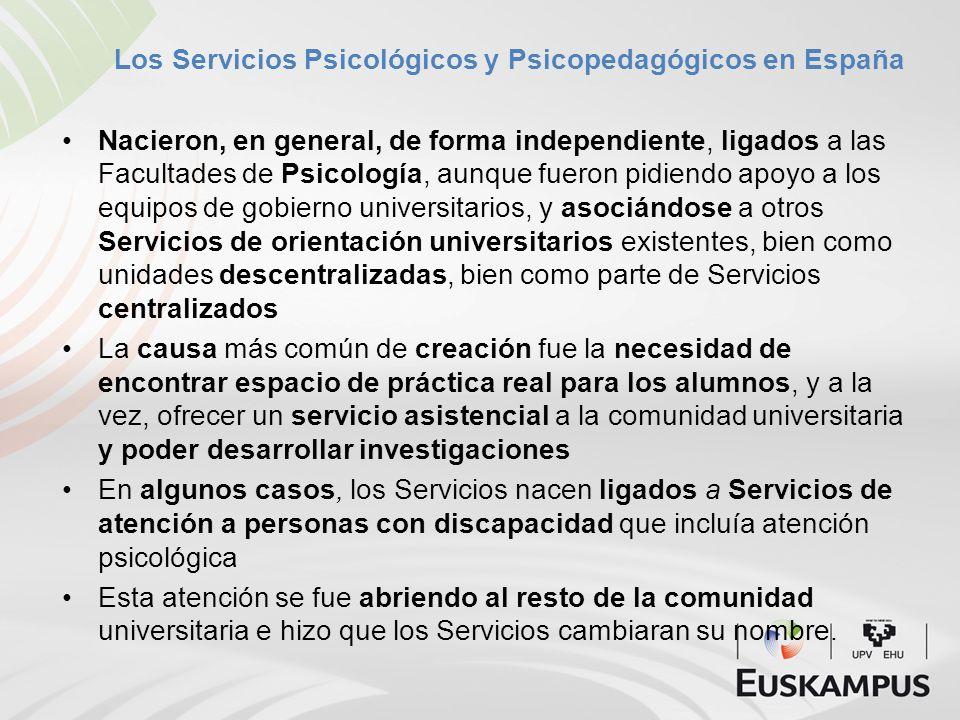 Los Servicios Psicológicos y Psicopedagógicos en España Nacieron, en general, de forma independiente, ligados a las Facultades de Psicología, aunque f