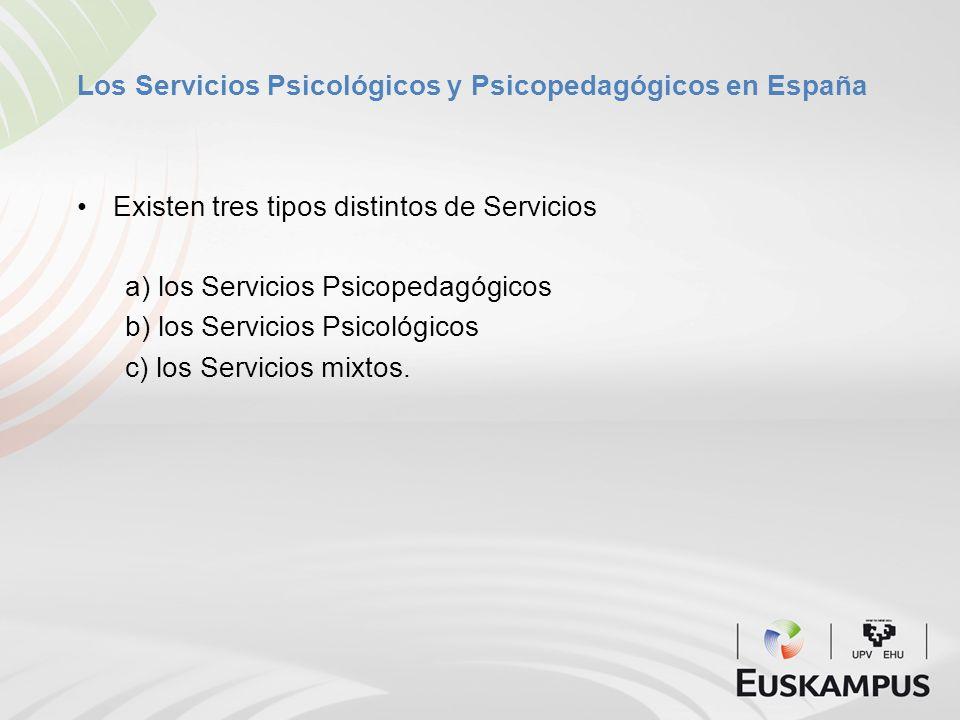 Los Servicios Psicológicos y Psicopedagógicos en España Existen tres tipos distintos de Servicios a) los Servicios Psicopedagógicos b) los Servicios P