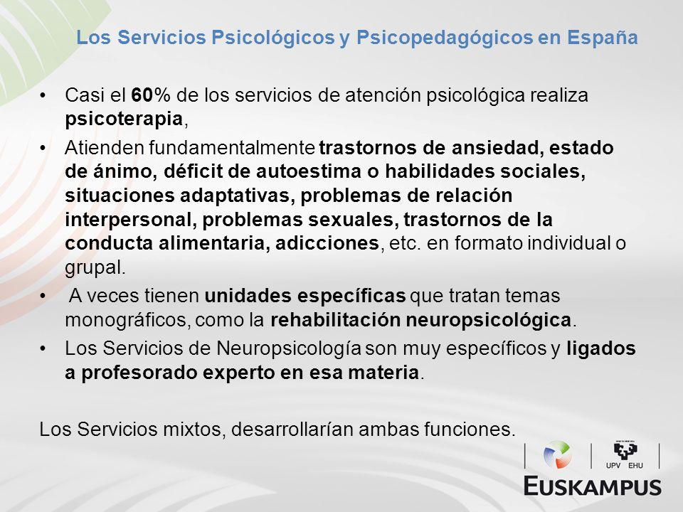 Los Servicios Psicológicos y Psicopedagógicos en España Casi el 60% de los servicios de atención psicológica realiza psicoterapia, Atienden fundamenta