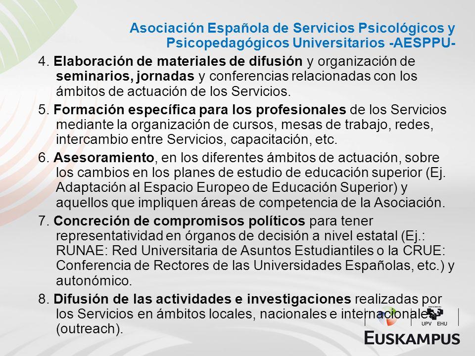 Asociación Española de Servicios Psicológicos y Psicopedagógicos Universitarios -AESPPU- 4. Elaboración de materiales de difusión y organización de se