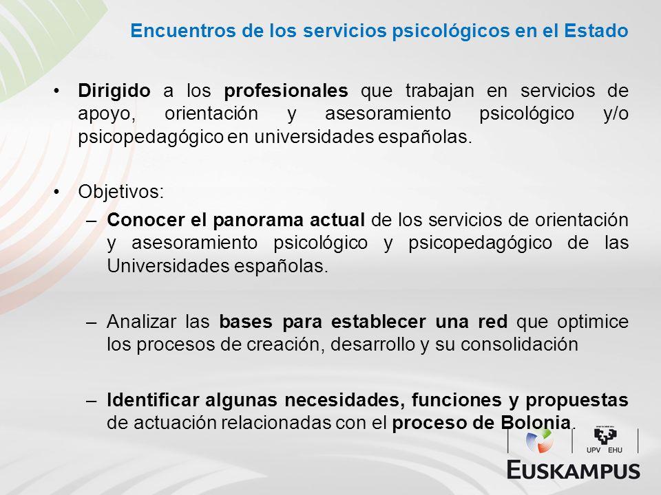 Encuentros de los servicios psicológicos en el Estado Dirigido a los profesionales que trabajan en servicios de apoyo, orientación y asesoramiento psi
