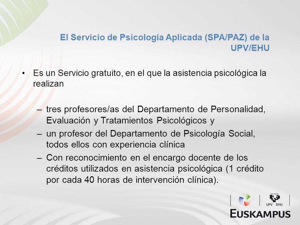El Servicio de Psicología Aplicada (SPA/PAZ) de la UPV/EHU Es un Servicio gratuito, en el que la asistencia psicológica la realizan –tres profesores/a
