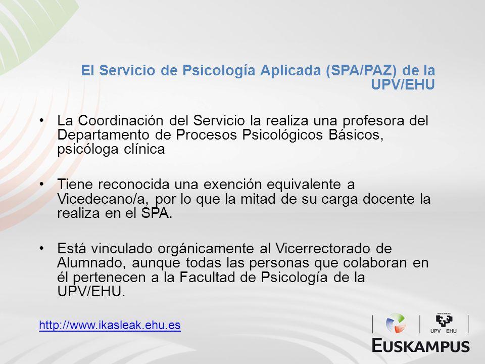 El Servicio de Psicología Aplicada (SPA/PAZ) de la UPV/EHU La Coordinación del Servicio la realiza una profesora del Departamento de Procesos Psicológ