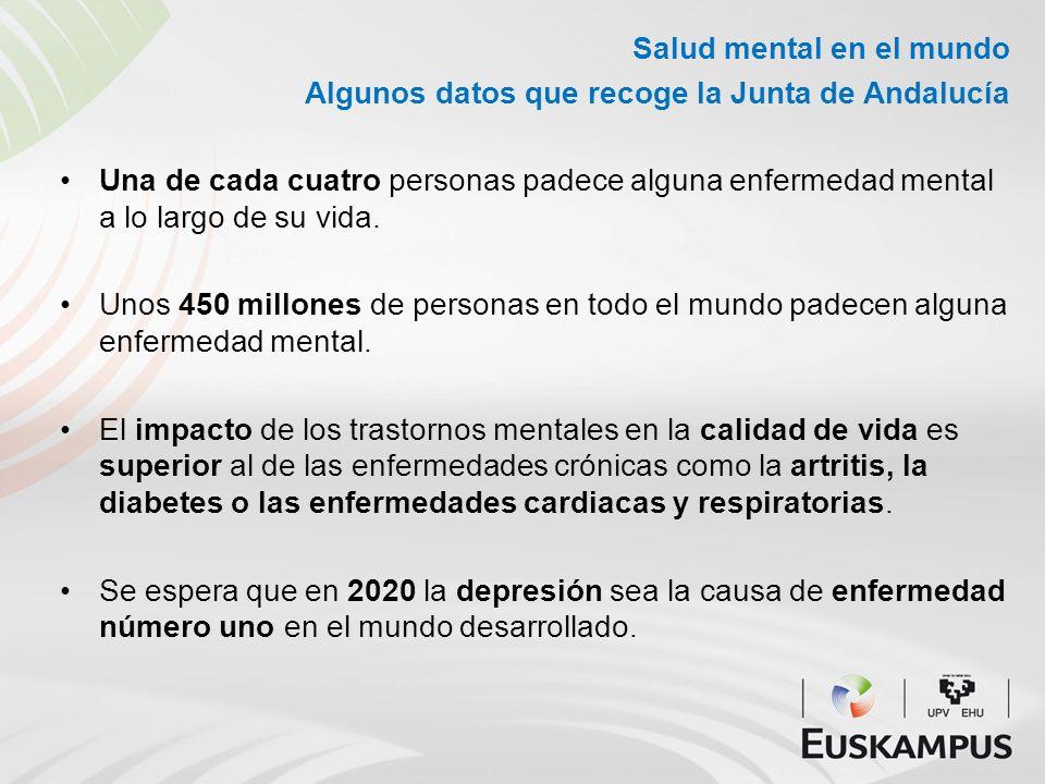 Salud mental en el mundo Algunos datos que recoge la Junta de Andalucía Una de cada cuatro personas padece alguna enfermedad mental a lo largo de su v