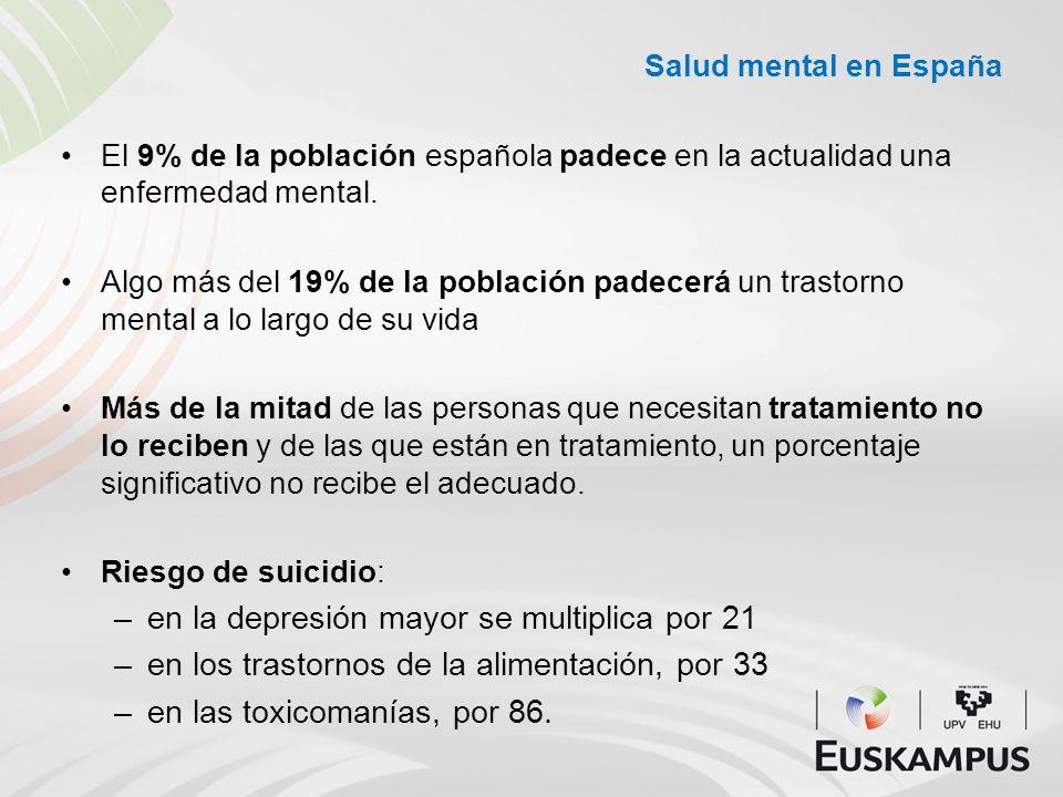 Salud mental en España El 9% de la población española padece en la actualidad una enfermedad mental. Algo más del 19% de la población padecerá un tras