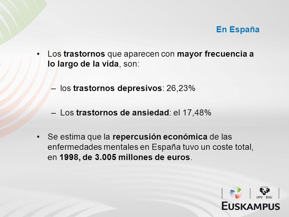 En España Los trastornos que aparecen con mayor frecuencia a lo largo de la vida, son: –los trastornos depresivos: 26,23% –Los trastornos de ansiedad: