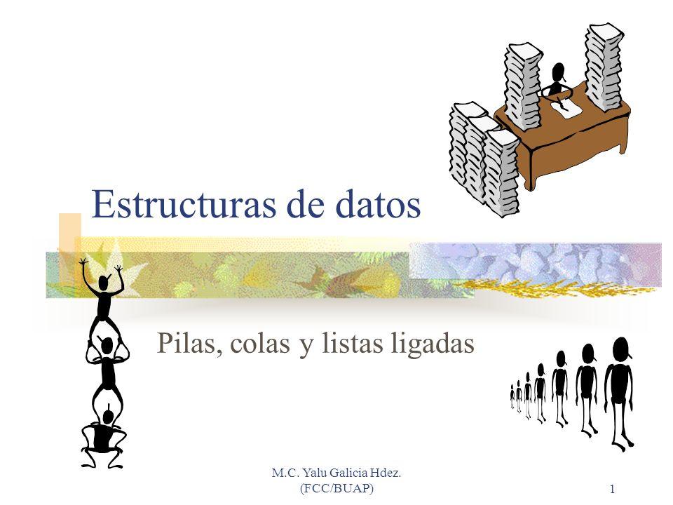 M.C. Yalu Galicia Hdez. (FCC/BUAP)1 Estructuras de datos Pilas, colas y listas ligadas