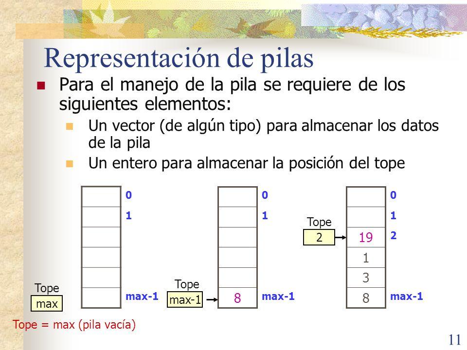 11 Representación de pilas Para el manejo de la pila se requiere de los siguientes elementos: Un vector (de algún tipo) para almacenar los datos de la pila Un entero para almacenar la posición del tope 0 1 max-1 max Tope = max (pila vacía) Tope max-1 1 0 8 Tope max-1 2 1 0 1 8 3 19 2 Tope