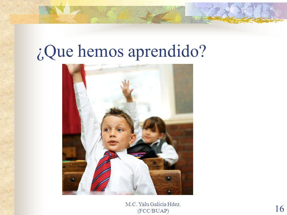 M.C. Yalu Galicia Hdez. (FCC/BUAP) 16 ¿Que hemos aprendido?