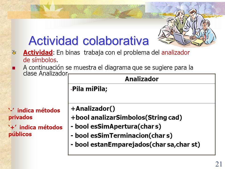 21 Actividad colaborativa Actividad: En binas trabaja con el problema del analizador de símbolos.