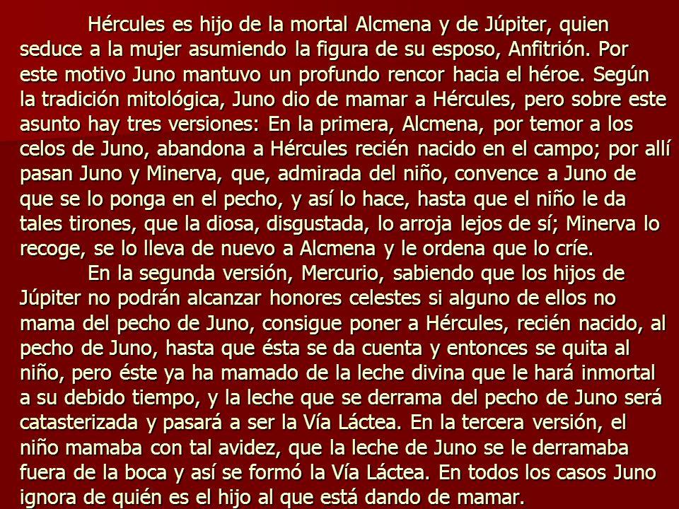 Hércules es hijo de la mortal Alcmena y de Júpiter, quien seduce a la mujer asumiendo la figura de su esposo, Anfitrión. Por este motivo Juno mantuvo