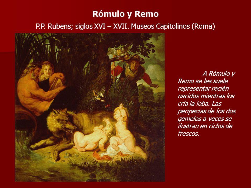 A Rómulo y Remo se les suele representar recién nacidos mientras los cría la loba. Las peripecias de los dos gemelos a veces se ilustran en ciclos de