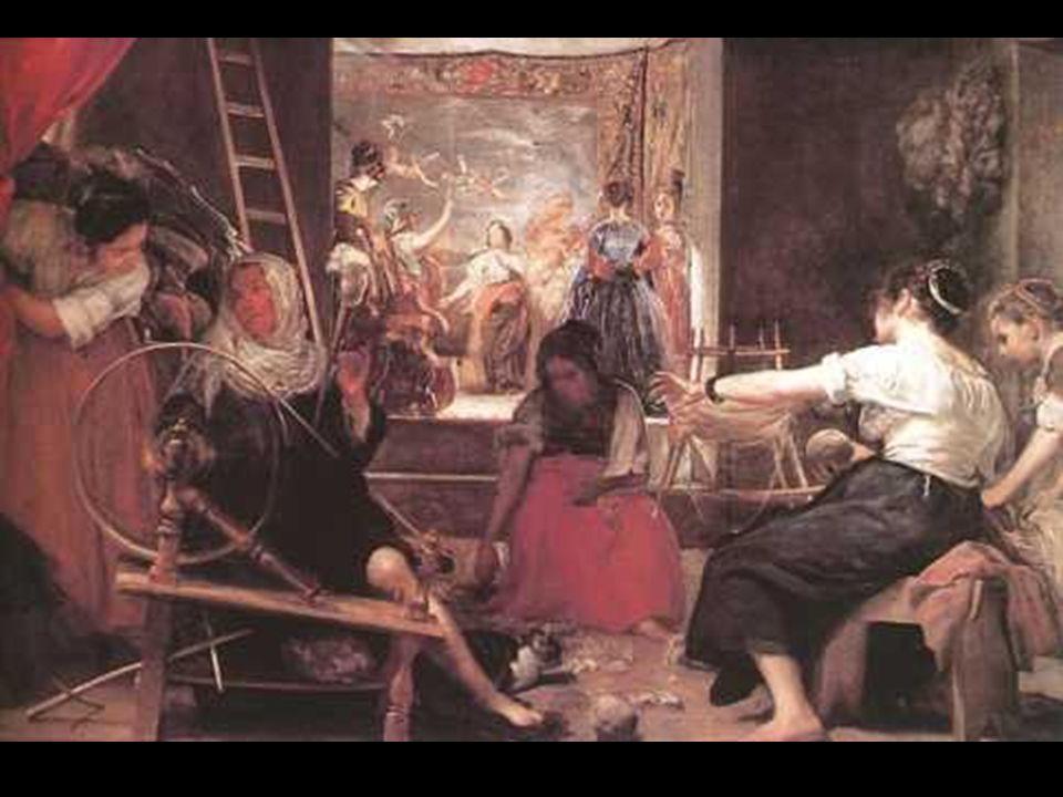 En Las Hilanderas sitúa el mito de Aracné, la habilidosa tejedora perseguida por Atenea, en el taller de tapices de Santa Bárbara. El mito va tejiéndo