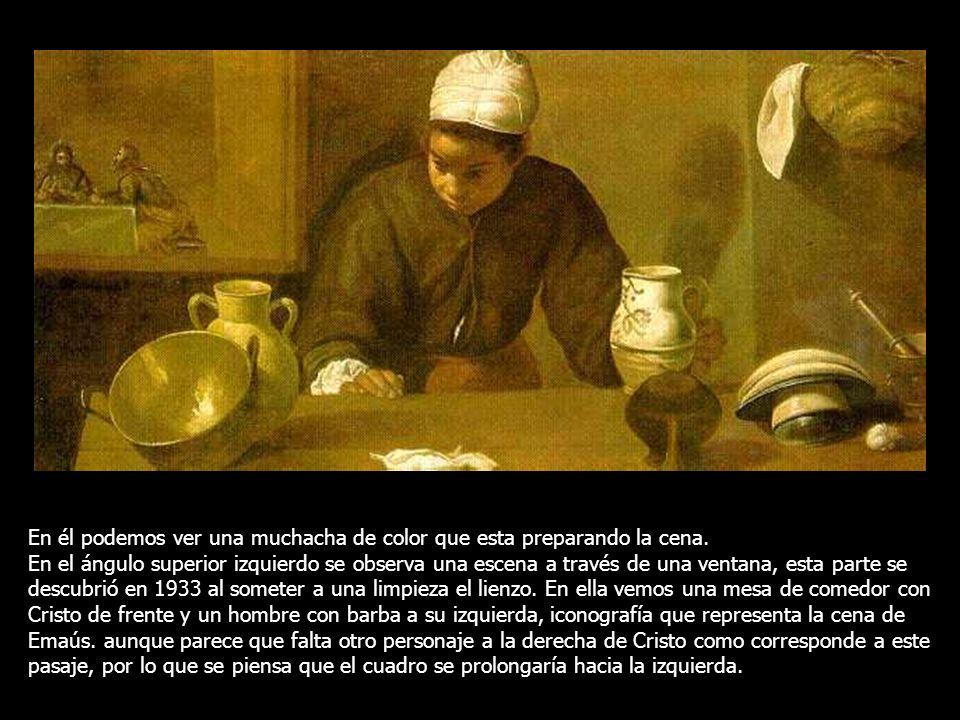 Velázquez convierte esta escena en algo más que un bodegón, representando en un segundo plano parte de la historia sagrada, recurso que utilizaría tam