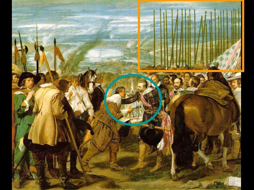 Dentro del género histórico, pinta la Rendición de Breda o Las Lanzas (1634-35). La rendición de Breda (Las Lanzas) 1635 307 x 367 cm Museo del Prado,