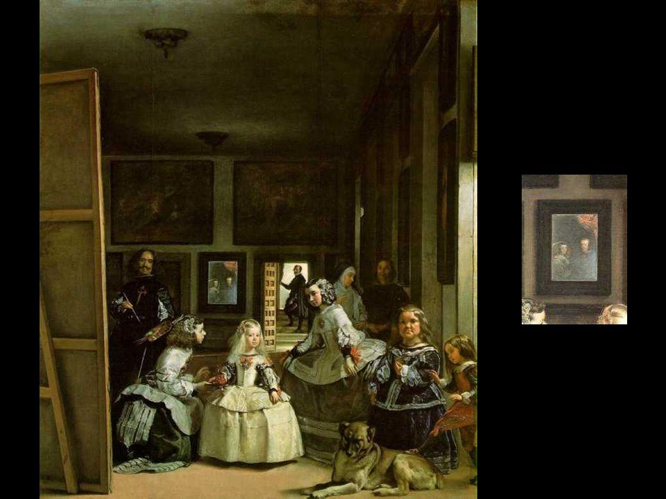 En Las Meninas, evoca la vida cotidiana de la familia real, que aparece alrededor de la Infanta Margarita, de sus damas de honor portuguesas (las meni