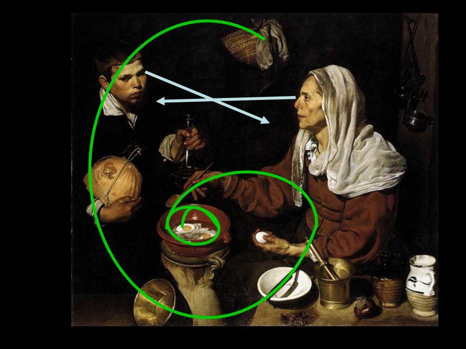 El retrato se une al bodegón. Naturalismo. Captación de las calidades de los objetos (texturas, brillos). Técnica tenebrista. especie de inventario de
