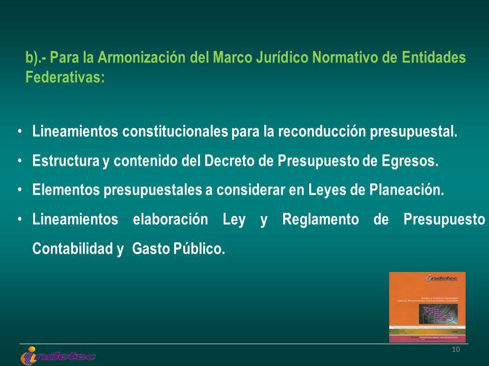 10 b).- Para la Armonización del Marco Jurídico Normativo de Entidades Federativas: Lineamientos constitucionales para la reconducción presupuestal. E