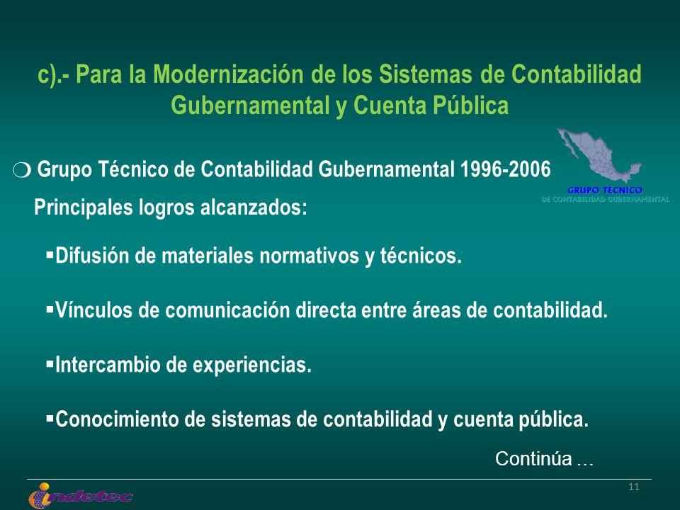 11 c).- Para la Modernización de los Sistemas de Contabilidad Gubernamental y Cuenta Pública Grupo Técnico de Contabilidad Gubernamental 1996-2006 Difusión de materiales normativos y técnicos.