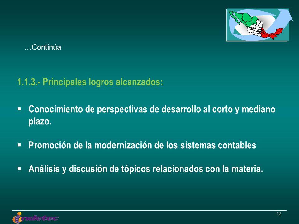 12 Conocimiento de perspectivas de desarrollo al corto y mediano plazo. Promoción de la modernización de los sistemas contables Análisis y discusión d