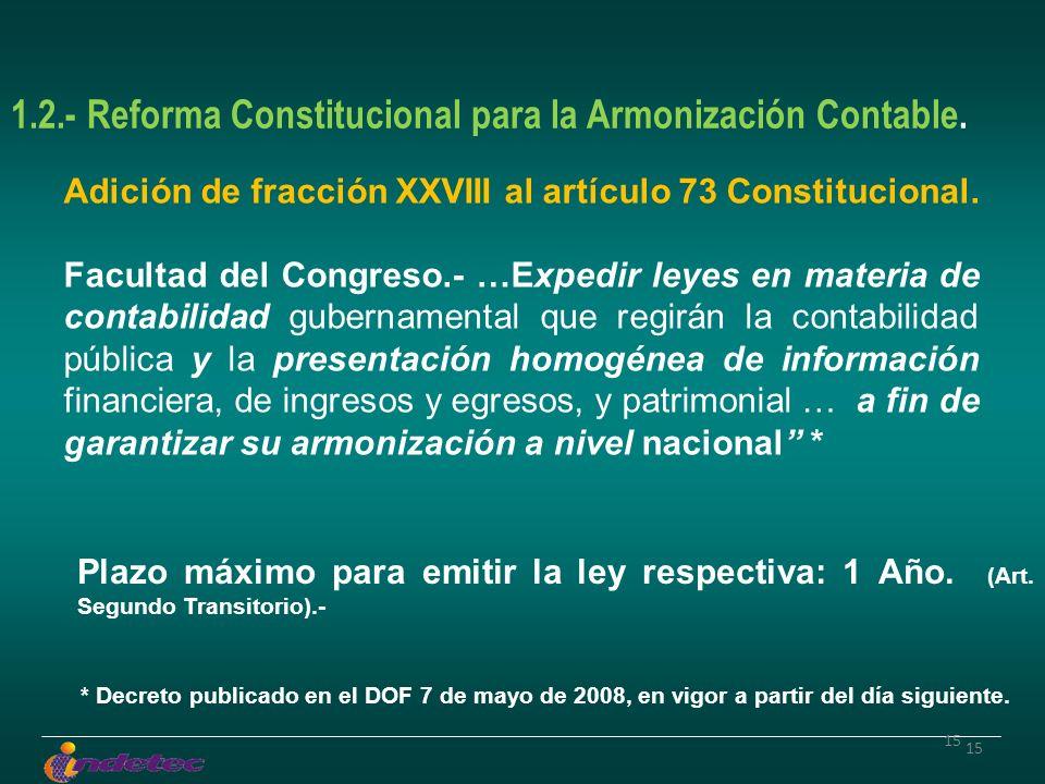 15 1.2.- Reforma Constitucional para la Armonización Contable. Adición de fracción XXVIII al artículo 73 Constitucional. Facultad del Congreso.- …Expe