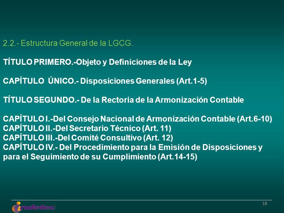 19 2.2.- Estructura General de la LGCG. TÍTULO PRIMERO.-Objeto y Definiciones de la Ley CAPÍTULO ÚNICO.- Disposiciones Generales (Art.1-5) TÍTULO SEGU
