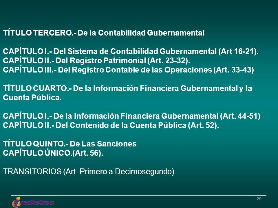 20 TÍTULO TERCERO.- De la Contabilidad Gubernamental CAPÍTULO I.- Del Sistema de Contabilidad Gubernamental (Art 16-21). CAPÍTULO II.- Del Registro Pa