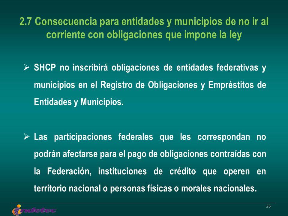 25 2.7 Consecuencia para entidades y municipios de no ir al corriente con obligaciones que impone la ley SHCP no inscribirá obligaciones de entidades federativas y municipios en el Registro de Obligaciones y Empréstitos de Entidades y Municipios.