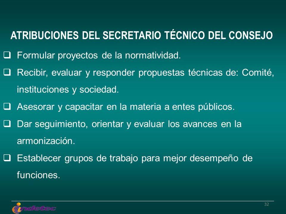 32 ATRIBUCIONES DEL SECRETARIO TÉCNICO DEL CONSEJO Formular proyectos de la normatividad. Recibir, evaluar y responder propuestas técnicas de: Comité,