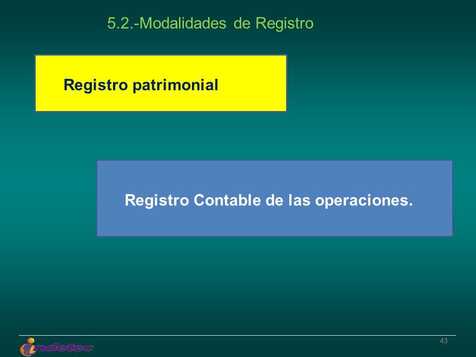 43 Registro patrimonial Registro Contable de las operaciones. 5.2.-Modalidades de Registro