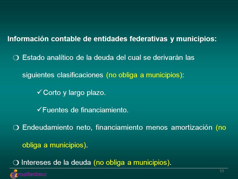 53 Información contable de entidades federativas y municipios: Estado analítico de la deuda del cual se derivarán las siguientes clasificaciones (no obliga a municipios): Corto y largo plazo.