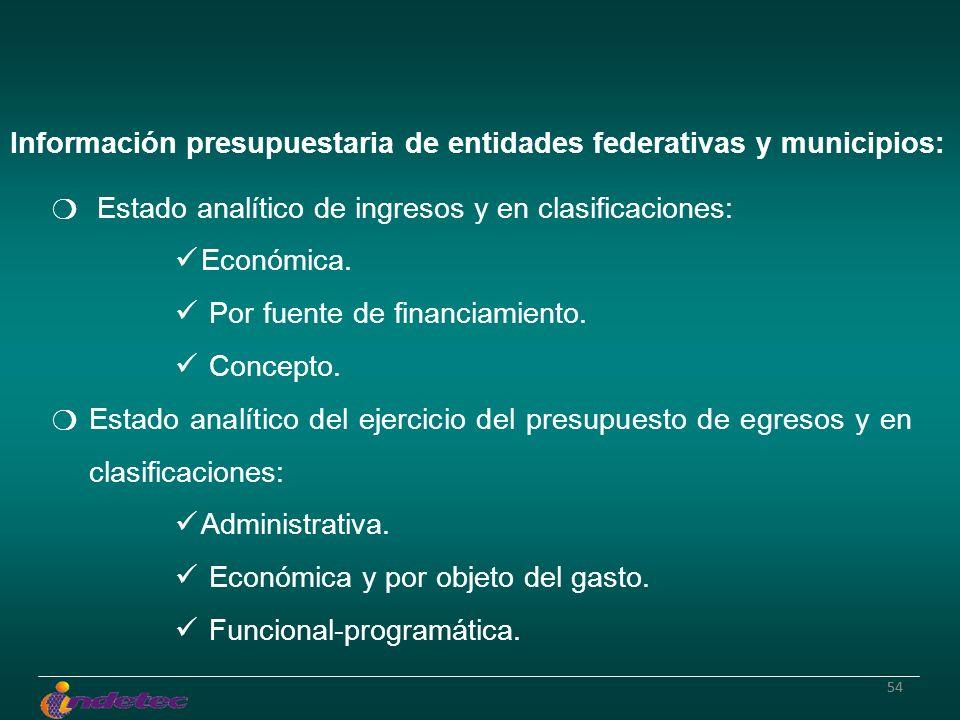 54 Información presupuestaria de entidades federativas y municipios: Estado analítico de ingresos y en clasificaciones: Económica. Por fuente de finan