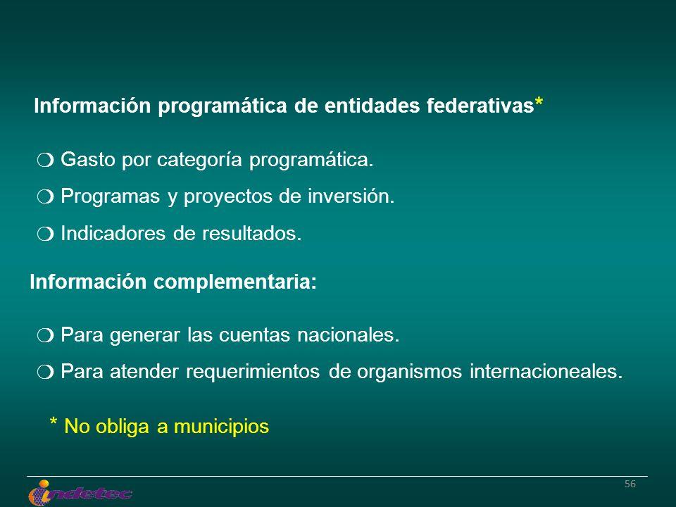 56 Información programática de entidades federativas * Gasto por categoría programática. Programas y proyectos de inversión. Indicadores de resultados