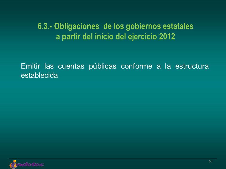 63 6.3.- Obligaciones de los gobiernos estatales a partir del inicio del ejercicio 2012 Emitir las cuentas públicas conforme a la estructura estableci