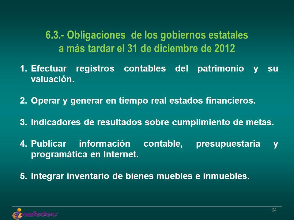 64 6.3.- Obligaciones de los gobiernos estatales a más tardar el 31 de diciembre de 2012 1.Efectuar registros contables del patrimonio y su valuación.
