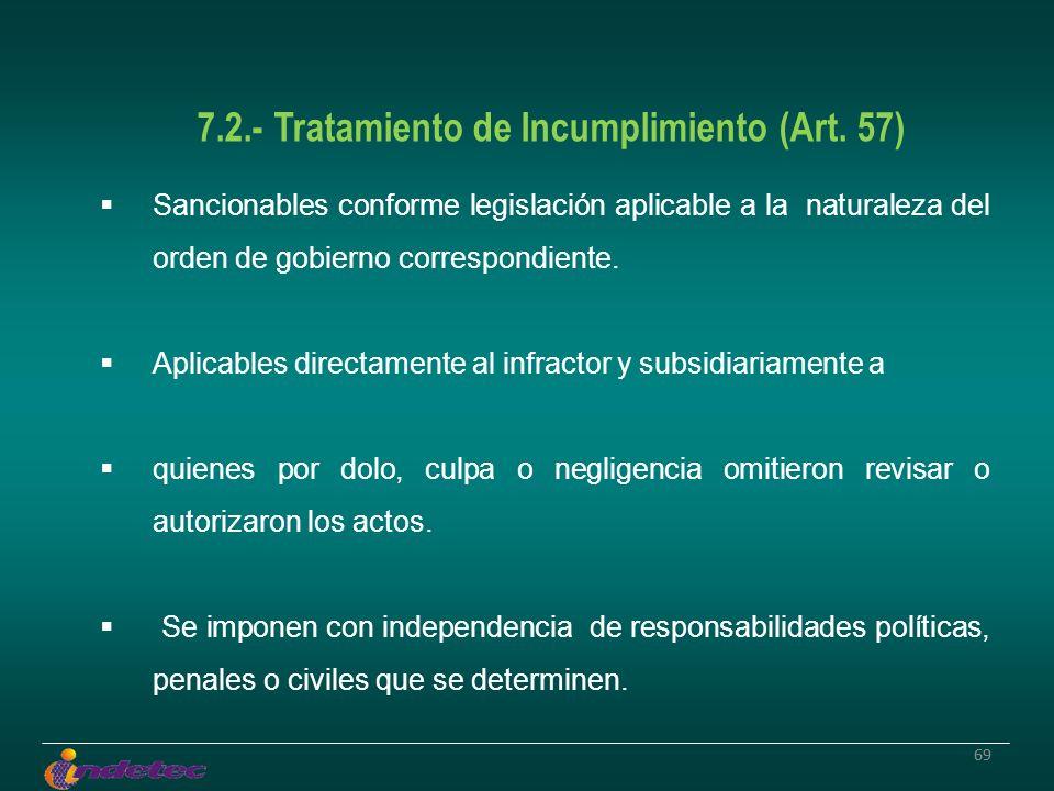 69 7.2.- Tratamiento de Incumplimiento (Art. 57) Sancionables conforme legislación aplicable a la naturaleza del orden de gobierno correspondiente. Ap