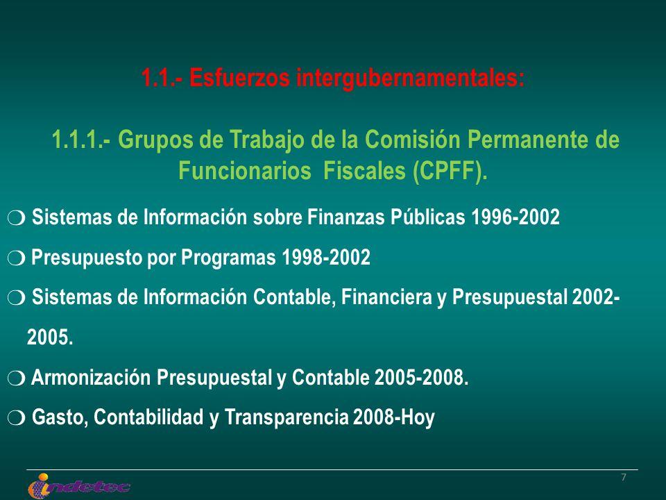 77 1.1.- Esfuerzos intergubernamentales: 1.1.1.- Grupos de Trabajo de la Comisión Permanente de Funcionarios Fiscales (CPFF). Sistemas de Información