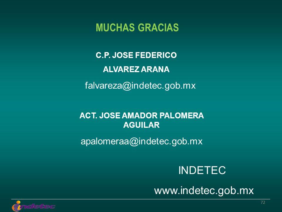 72 MUCHAS GRACIAS C.P. JOSE FEDERICO ALVAREZ ARANA falvareza@indetec.gob.mx INDETEC www.indetec.gob.mx ACT. JOSE AMADOR PALOMERA AGUILAR apalomeraa@in