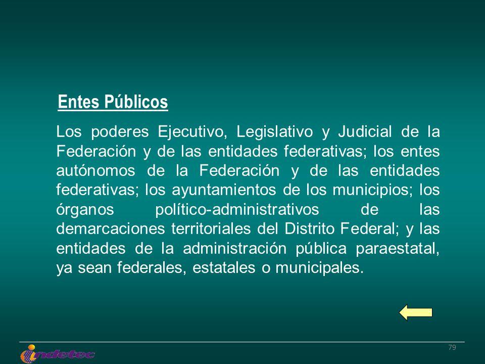 79 Los poderes Ejecutivo, Legislativo y Judicial de la Federación y de las entidades federativas; los entes autónomos de la Federación y de las entida