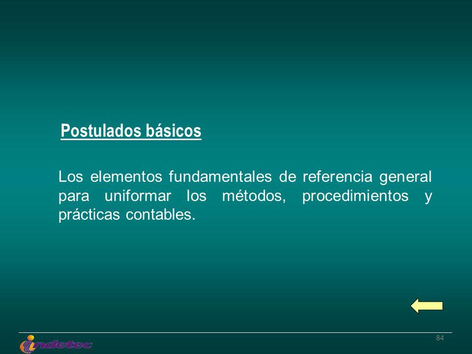 84 Los elementos fundamentales de referencia general para uniformar los métodos, procedimientos y prácticas contables. Postulados básicos