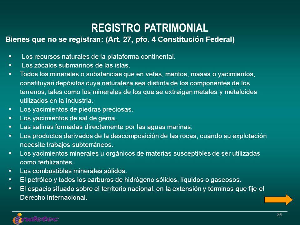 85 REGISTRO PATRIMONIAL Bienes que no se registran: (Art. 27, pfo. 4 Constitución Federal) Los recursos naturales de la plataforma continental. Los zó