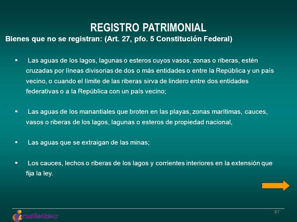 87 REGISTRO PATRIMONIAL Bienes que no se registran: (Art.