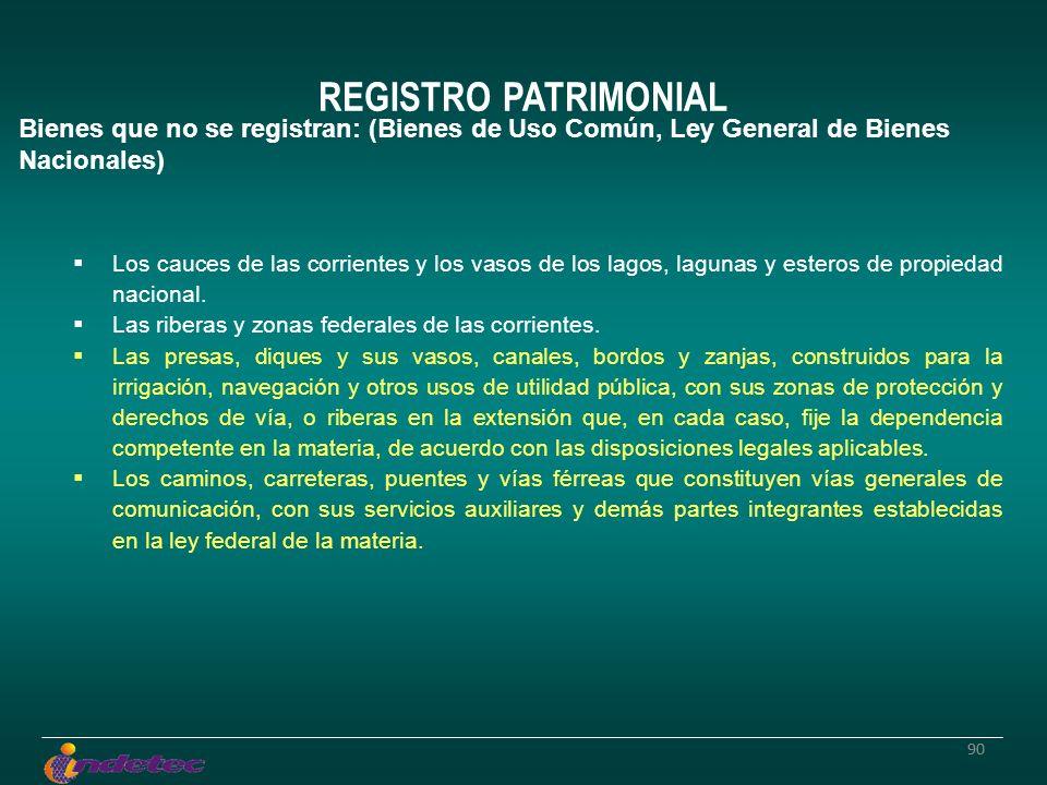 90 REGISTRO PATRIMONIAL Bienes que no se registran: (Bienes de Uso Común, Ley General de Bienes Nacionales) Los cauces de las corrientes y los vasos d