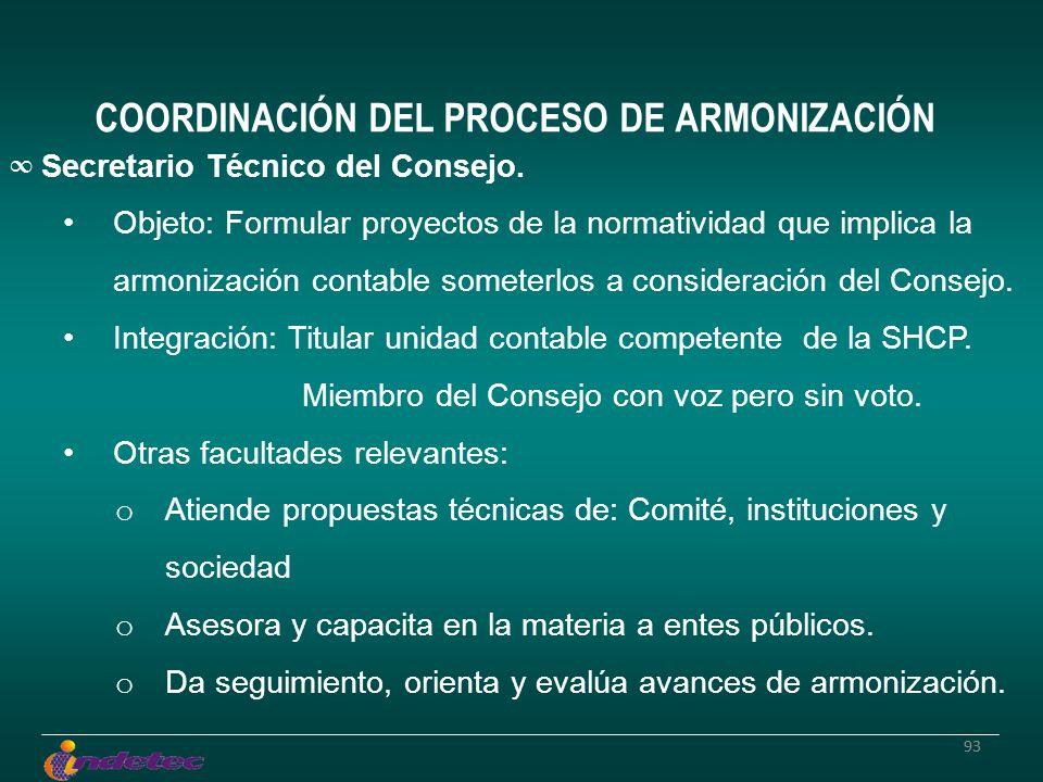 93 Secretario Técnico del Consejo. Objeto: Formular proyectos de la normatividad que implica la armonización contable someterlos a consideración del C